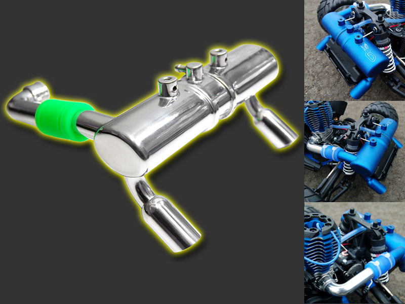 RDLogics TYPE-X 1Pc Twin Exhaust Tuned Pipe for TMaxx Polished 2.5//3.3