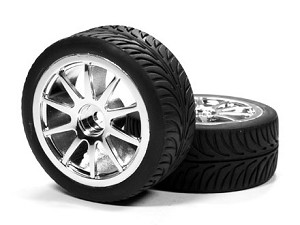 "Part#: 41034 - 1/10 Premounted Tires - ""Street"" X Spoke (Pair)"