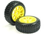 Part#: 45202 - 1/8 Buggy Pre-Mounted Tires, Yellow Spoke W/Sports Oval Spikes (Pair)