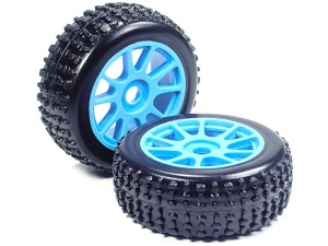 Part#: 45203 - 1/8 Buggy Pre-Mounted Tires, Blue Spoke W/ Sports Oval Spikes (Pair)