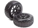 Part#: 45204 - 1/8 Buggy Pre-Mounted Tires, Black Spoke W/ Sports Oval Spikes (Pair)