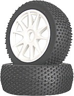 Part#: 45205 - 1/8 Buggy Pre-Mounted Tires - White Spoke W/ Studs (Pair)