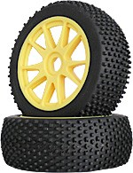 Part#: 45206 - 1/8 Buggy Pre-Mounted Tires - Yellow Spoke W/ Studs (Pair)