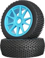 Part#: 45207 - 1/8 Buggy Pre-Mounted Tires - Blue Spoke W/ Studs (Pair)