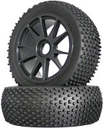Part#: 45208 - 1/8 Buggy Pre-Mounted Tires - Black Spoke W/ Studs (Pair)