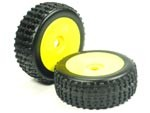 Part#: 45210 - 1/8 Buggy Pre-Mounted Tires, Yellow Dish W/ Sports Oval Spikes (Pair)