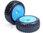 Part#: 45211 - 1/8 Buggy Pre-Mounted Tires, Blue Dish W/ Sports Oval Spikes (Pair)