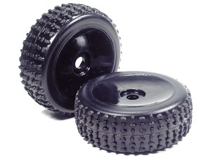 Part#: 45212 - 1/8 Buggy Pre-Mounted Tires, Blue Dish W/ Sports Oval Spikes (Pair)