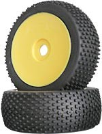 Part#: 45214 - 1/8 Buggy Pre-Mounted Tires - Yellow Dish W/ Studs (Pair)
