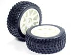 Part#: 45217 - 1/8 Buggy Pre-Mounted Tires, White Spoke W/ Sports Edge Spikes (Pair)