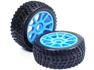 Part#: 45219 - 1/8 Buggy Pre-Mounted Tires, Blue Spoke W/ Sports Edge Spikes (Pair)