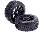 Part#: 45220 - 1/8 Buggy Pre-Mounted Tires, Black Spoke W/ Sports Edge Spikes (Pair)