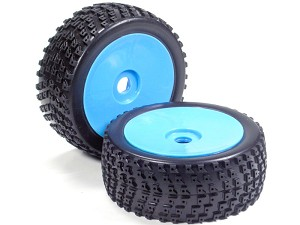 Part#: 45223 - 1/8 Buggy Pre-Mounted Tires, Blue Dish W/ Sports Edge Spikes (Pair)