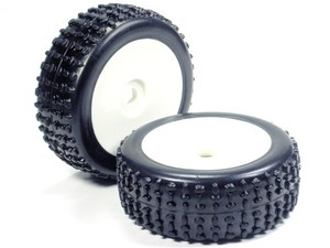 Part#: 45209 - 1/8 Buggy Pre-Mounted Tires, White Dish W/ Sports Oval Spikes (Pair)